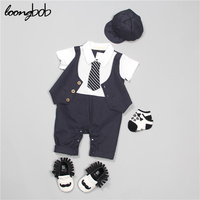 LOONGBOB 2016 Summer Baby Boy Gentleman Style Romper Cute Pattern Printed Infant Suits Toddler Boys Bow