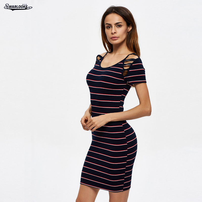 Swarlooke USA European Summer New Arrival Sexy Women Hollow Out Knitted Striped Sub Sling Pencial Hip Package Dress Female adidas original new arrival official neo women s knitted pants breathable elatstic waist sportswear bs4904
