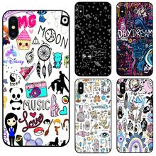 Magic Doodles planet Fashion phone case black soft cover for Samsung s8 s9plus S6 S7Edge for iPhone 6 6s 7 8plus 5 X XS XR XSMax