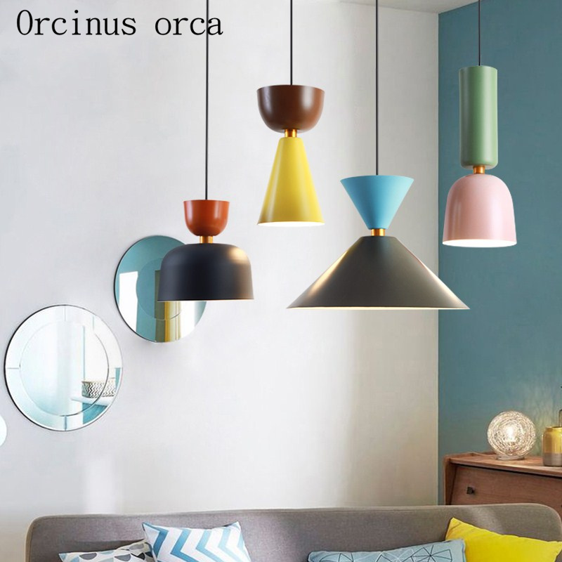 Nordic Minimalist Creative Color  Single Chandelier Restaurant Bar Coffee Shop Modern Personality Candy Color LED Chandelier