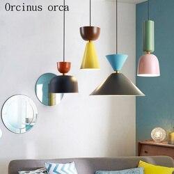 Skandynawska minimalistyczna kreatywna kolor pojedynczy żyrandol restauracja/bar kawiarnia nowoczesna osobowość cukierki kolor LED żyrandol|Wiszące lampki|Lampy i oświetlenie -
