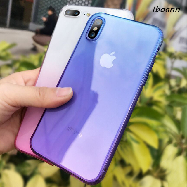 clear luxury soft silicone gel tpu Gradient Color Case For iPhone XR XS max  6 6s 6plus 7 8 Plus X Cover air cushion phone Cases b4f7c4aa5a7