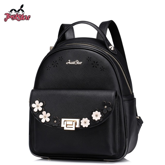 1f4534924200 JUST STAR Women s Backpack Female Ladies PU Leather Hollow Out Flower Daily  Travel Shoulder Bags Girl s