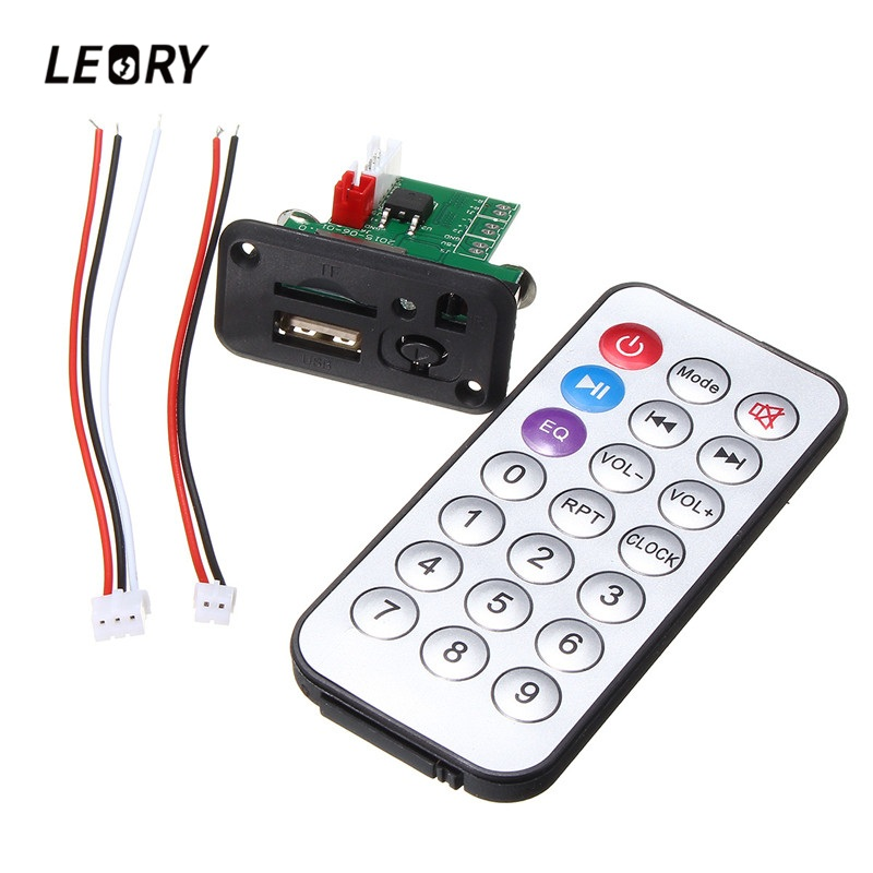 LEORY 1PC Mini MP3 Decoder Board MP3 Player Module With Remote Controller USB TF Card Jack MP3 WAV Decoding Board Amplifier