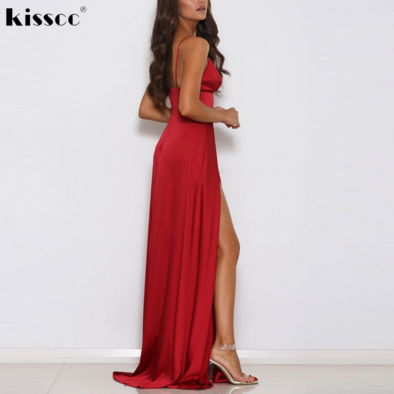 8cd2828c1de30 US $22.49 25% OFF|Sexy Red Satin Maxi Dress High Splits Backless Party Deep  V Neck Padded Floor Length Party Dresses Evening Club Gown Dress-in ...