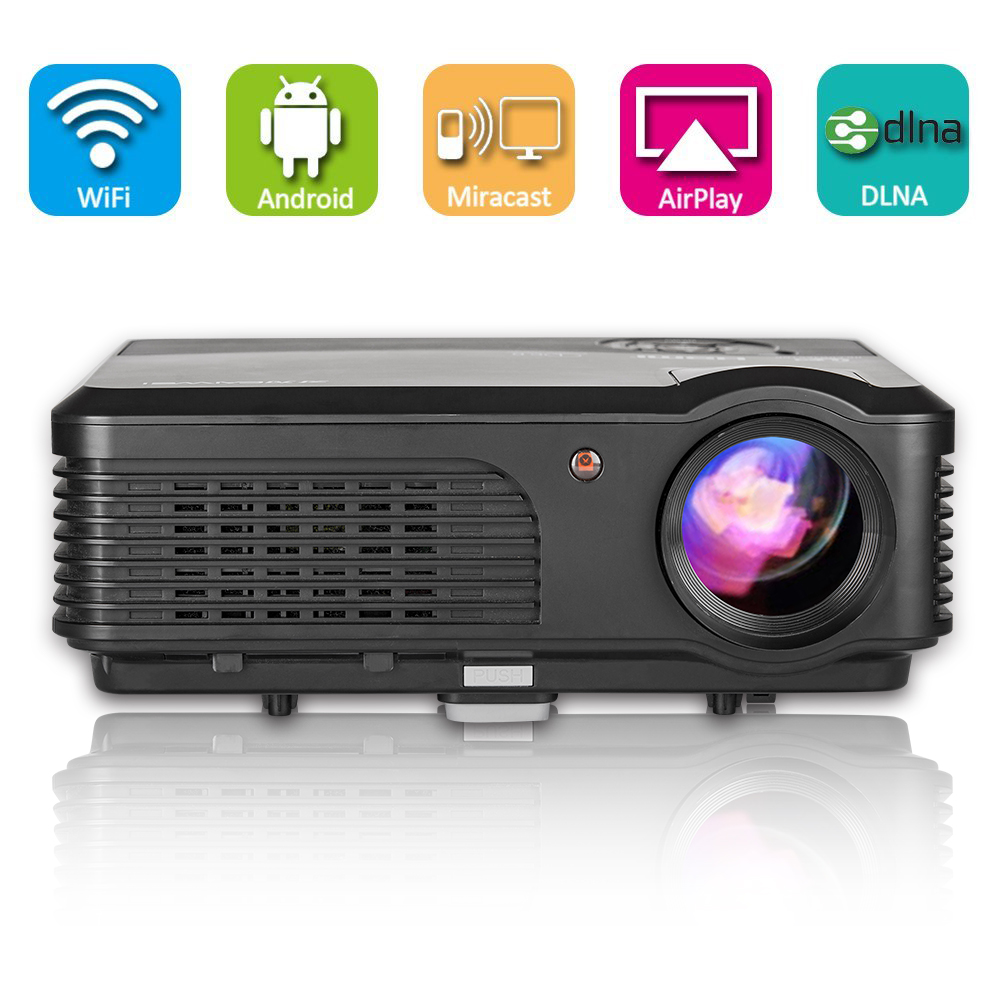 все цены на HD LED Home Theater Projector Beamer 1080p Android WIFI Wireless Online Video Movie HDMI USB VGA AV 4200lm Factory Direct Sale онлайн