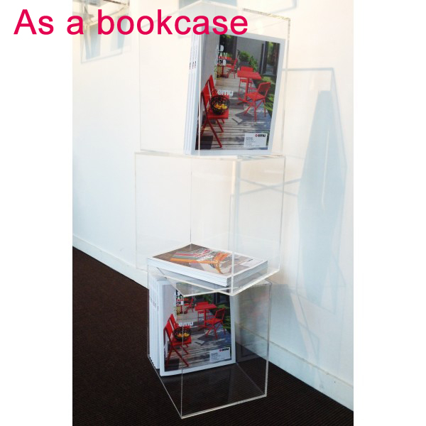 DIY Freestyle Crystal Acrylic Lucite Perspex Cube Shelves 35 CM , Cube Cabinets 5 Sided