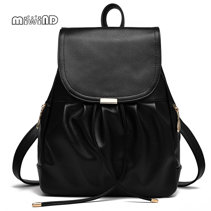 MIWIND Fashion Backpack Women Leather Backpack String School Bags for Teenagers Mochila Feminina Bagpack Free Shipping miwind new backpack women school bags for teenagers mochila feminina women bag free shipping leather bags women leather backpack