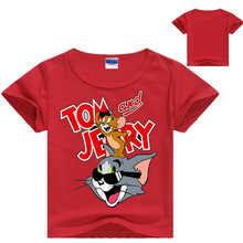 3-14 Years Tom and Jerry T-shirt For Kids Summer Short Sleeve Tee Tops Clothes Children Clothing Boy Tshirt Girls T Shirt free shipping 2015 new summer brand teen boy solid polo shirt 12 13 14 15 years children patchwork tees kids tshirt 6c3050