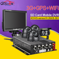 CCTV Security Car Mobile Dvr Kits 3G GPS Wifi SD Card 4CH Video Audio Input Remote