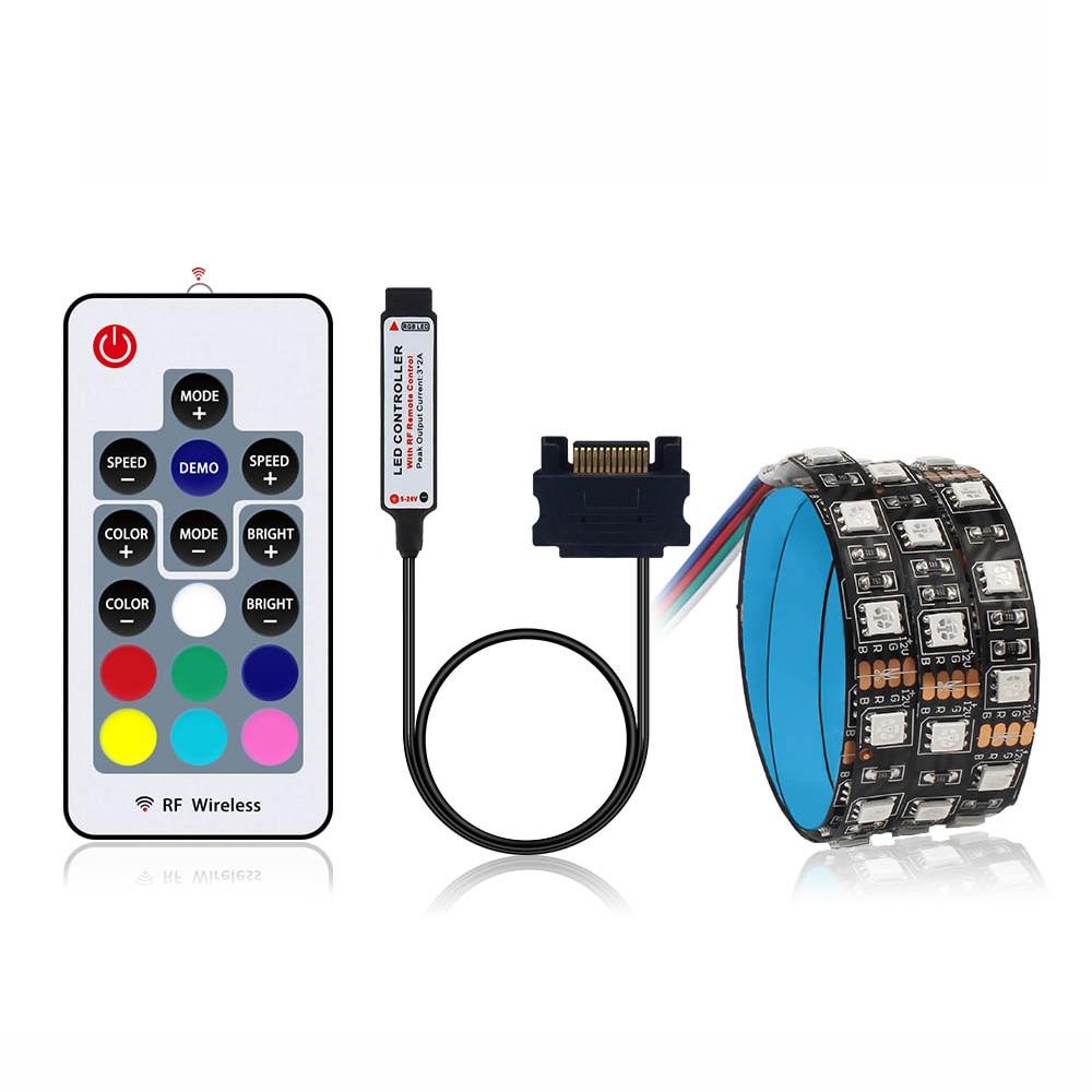 Tira de led sata, smd 5050 60leds/m 50/100/150/200cm com rf controle remoto para caso do pc ip20 12v led luz de tira flexível
