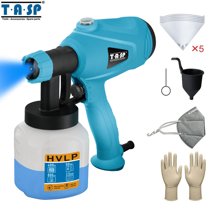 TASP MESG400M 220V 400W Electric Spray Gun HVLP Paint Sprayer Painting Compressor with Adjustable Flow Control and 3m Cable