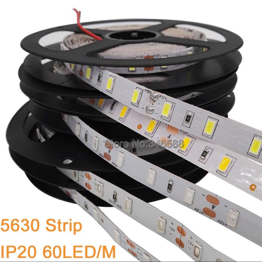5m DC 12V 5730 LED Strip 5630 SMD Flexible LED Strip 60LED/m Warm White Cold White Red Green Blue 4000K IP20 IP65Waterproof