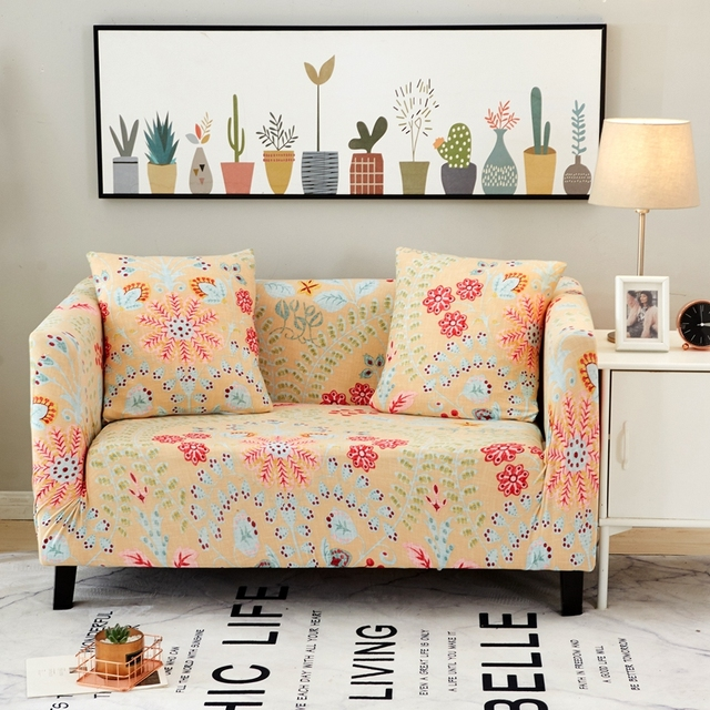 Tutubird Stretch Sofa Cover With Pillow Case Yellow Flower Print Couch Knitted Fabric Anti Slip Flexible Slipcover