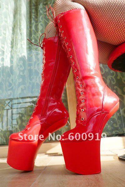 20cm High Height  Sex boot PU Platform Hoof Heels Knee-High Boot No.WG02R high boot
