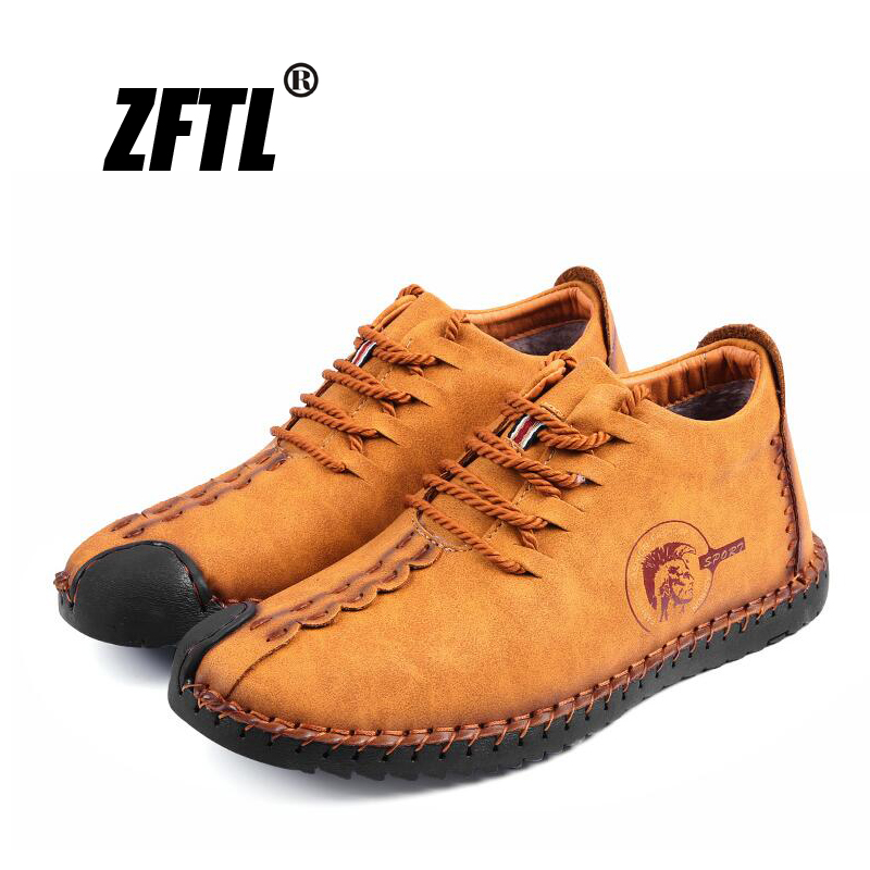 ZFTL New Men's Cotton Boots Winter Casual Men's Shoes Warm Peas Shoes Big Size Handmade Genuine Leather High-top Men's Shoes 034