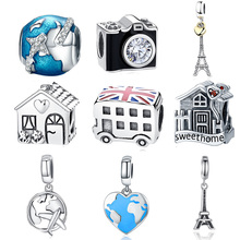 925 Sterling Silver Travel Dream House Eiffel Tower Pendant Charm Fit Original PAN Charm Bracelet DIY Christmas Gift Jewelry(China)