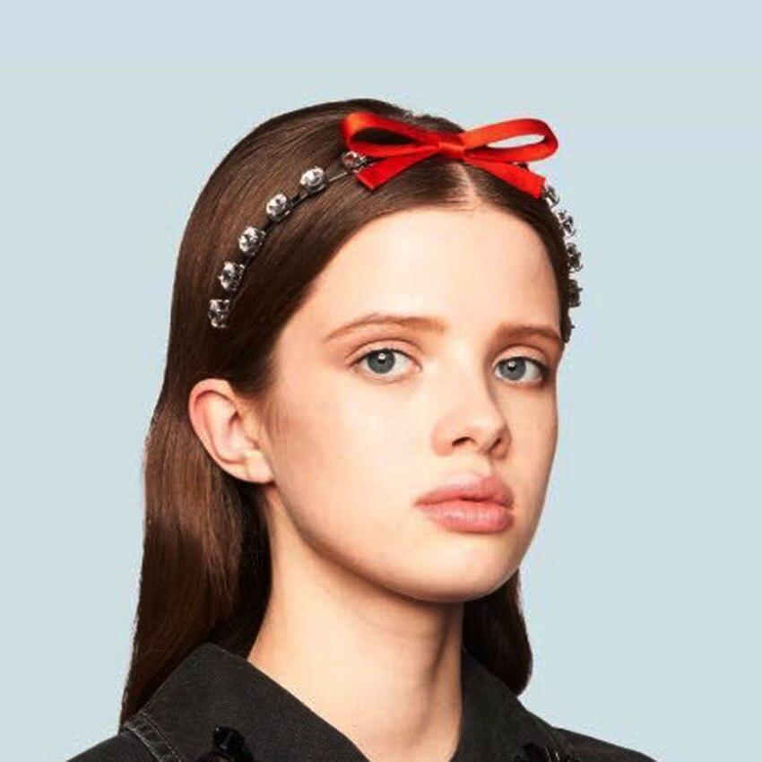 Baroque Fashion Street Shot Luxury Rhinestone Personality Headband New Small Particle Rhinestone Geometric Bow Headband 886