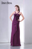 Real Photos Purple Halter Empire Pleats Sheath Evening Dresses with Big Bow Sleeveless Floor Length Long Prom Gowns