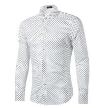 New Slim Fit Serried Dot Solid White 100% Cotton High Quality Casual Shirt Men's Social Dress Shirt Full Sleeve Turn Down Collar
