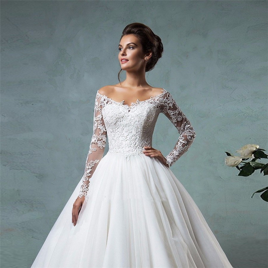 Lace Off The Shoulder Ball Gown Wedding Dresses Long Sleeves ...