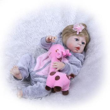 "New 23""Full Silicone Bebe Reborn Baby Girl Princess Dolls Lifelike Alive Doll for Child Bath Shower Bedtime Toy"