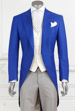 Royal Blue Long Coat Latest Design Formal Wearing Customized Groom Wedding Tuxedos 3 Pieces (Jacket+Pants+Vest) WB050 mens suit