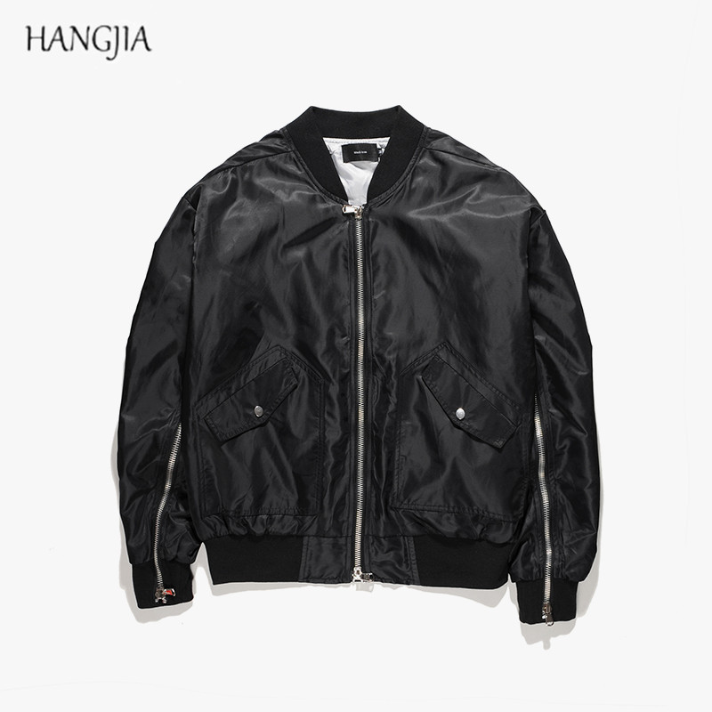 2017 Oversized Side Zipper M1 Flight Jackets Kanye West Street Tide Loose Pleated Solid Color Lovers Hip-Hop Bomber Jacket