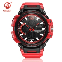 лучшая цена OHSEN Fashion Quartz Digital Watch Men LED Dual Time Display Waterproof Military Sport Watch Men Rubber Band Wristwatch Relogios