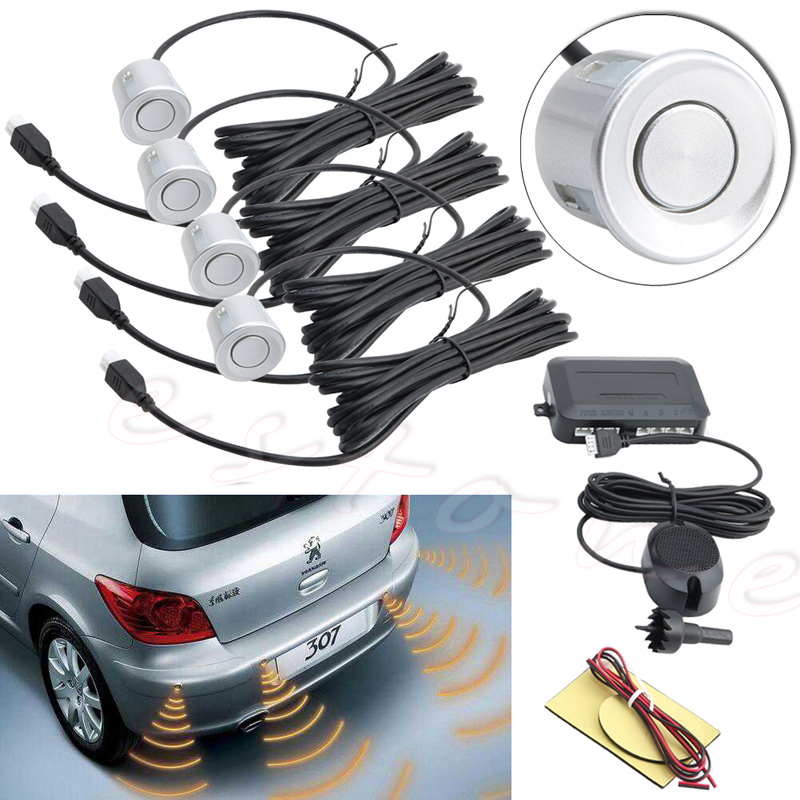 4 Parking Sensors Buzzer Car Reverse Backup Rear Radar System Sound Alarm Silver