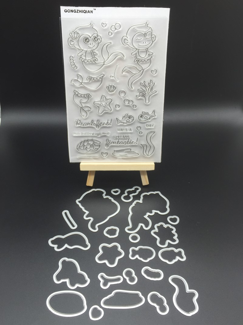 Monkey mermaid Metal cutting mold punching tools and stamp stencils for DIY scrapbooking A420 diy plastic pavement mold for garden and driveway