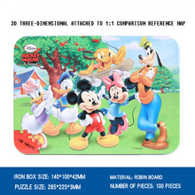 Disney Cartoon Animation Puzzles 2018 New Gifts 100 Mickey Minnie Tin Wood Puzzle Young Child Baby Early Learning Benefits Toys
