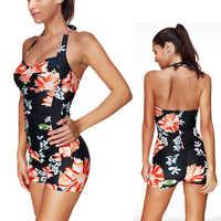One Piece Swimsuit Shorts Flat Flower Swimwear Women Bathing Suit Backless Swim Wear 2020 New Push Up Swimming Suit For Women