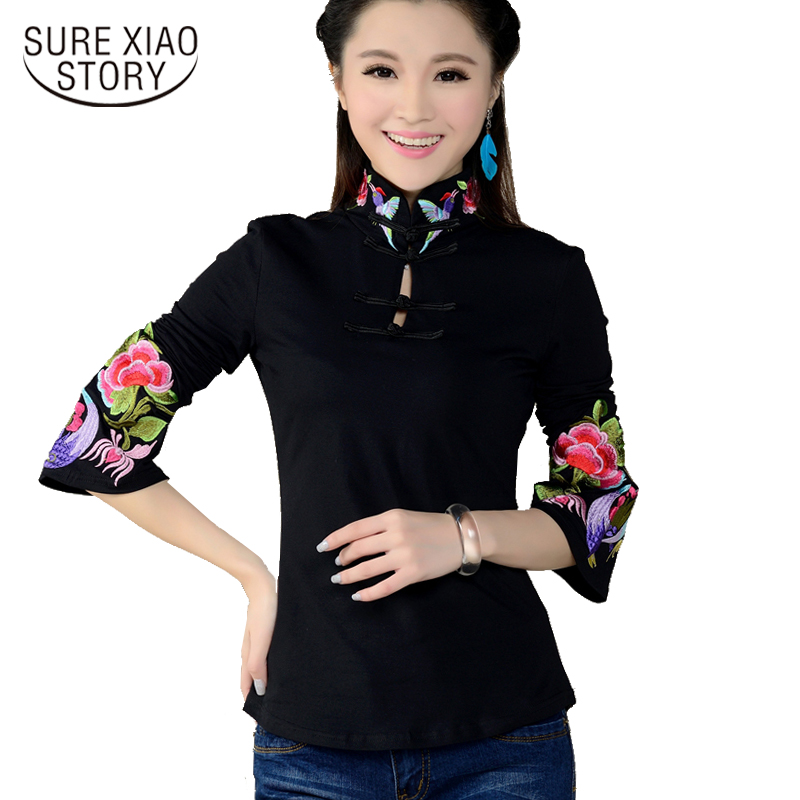 2017 new arrival Plus size Shirt Spring Long Sleeve tops blouse Support ethnic Flower embroidered Collar 585H 25
