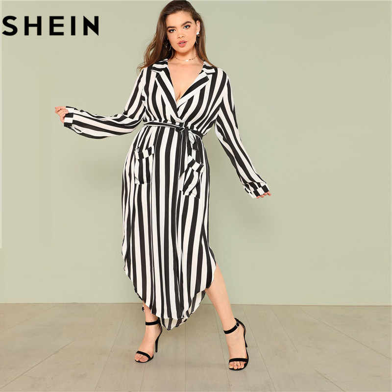 bbdb6d56904 ... SHEIN Black And White Stripe V Neck Belted Plus Size Maxi Dress Spring  Fall Office Lady ...