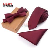 Business Man Tie Set Men Bow Tie and Handkerchief Bowtie Necktie Jacquard 3 PCS Tie Set Polyester Yarn Corbatas Hombre Pajarita