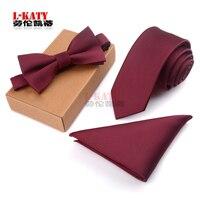 Hombre de negocios Tie Set Hombres Bowtie Pajarita y Pañuelo corbata Jacquard 3 UNIDS Tie Set Hilo de Poliéster Corbatas Hombre Pajarita
