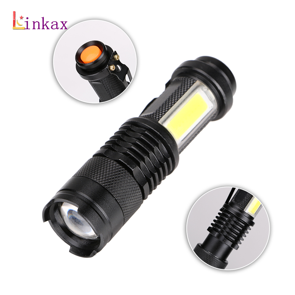 Mini 4 Modes 1* T6 LED+1*COB LED LED Flashlight XPE&COB Work Light lanterna Powerful Pen Torch Lamp Use 14500 or AA Battery litwod z501516 led mini flashlight led cob waterproof aluminum 1 mode torch use 14500 or aa battery for camping working lantern