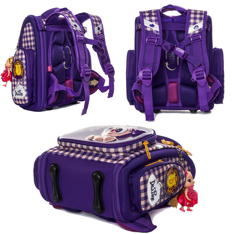 Delune 2019 New Primary School Bags Cartoon Orthopedic backpack for Girls Bear Cat Printing Children Mochila Infantil escolar1 3-in School Bags from Luggage & Bags    3