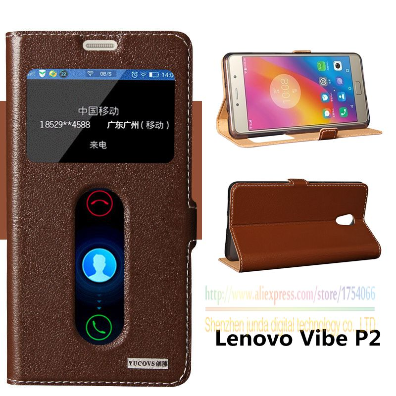 Top Quality Natural Genuine Leather Window Magnet Flip Stand Cover Case For Lenovo Vibe P2 P2C72