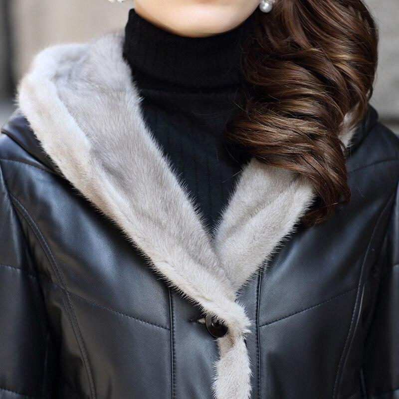 De Fur Longues Réel Vestes Peau Z381 Capuche D'hiver Nouvelles Cuir Noir Bas Femmes En Mode Veste Véritable Le Mouton Vers Manteau Vison Naturel Trim 5xOcH04qw