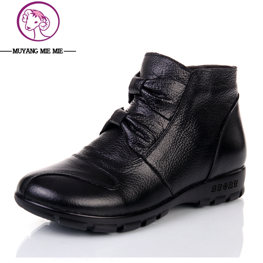 Size 35-41 Genuine Leather Boots Women Comfortable Ankle Boots Flat Casual Black Boots Warm Winter Boots Thermal Female Shoes bacia 2017 women winter boots casual super comfortable genuine leather boots female black warm wool fur shoes size 36 41 mb019
