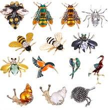 Пчела, жук, краб, муравьи, улитка, броши с птицами, Скорпион, стразы, Винтажные Украшения в виде животных, брошь