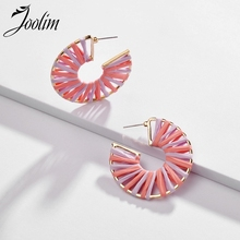 Joolim Jewelry Wholesale  Pink Green Blue Raffie Knitted Hoop Earring Alloy Summer Holiday Beach