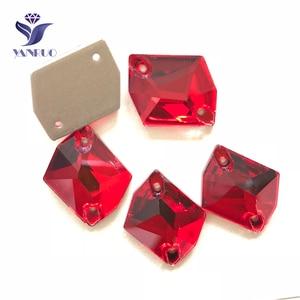 Image 1 - YANRUO 3265 All Sizes Lt.Siam Cosmic Flatback Glass Stones Sew On Rhinestone Crystals Strass For Wedding Dresses