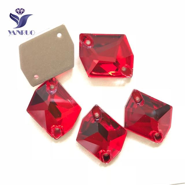 YANRUO 3265 جميع الأحجام Lt.Siam الأحجار الزجاجية المسطحة الكونية خياطة على بلورات حجر الراين ستراس لفساتين الزفاف