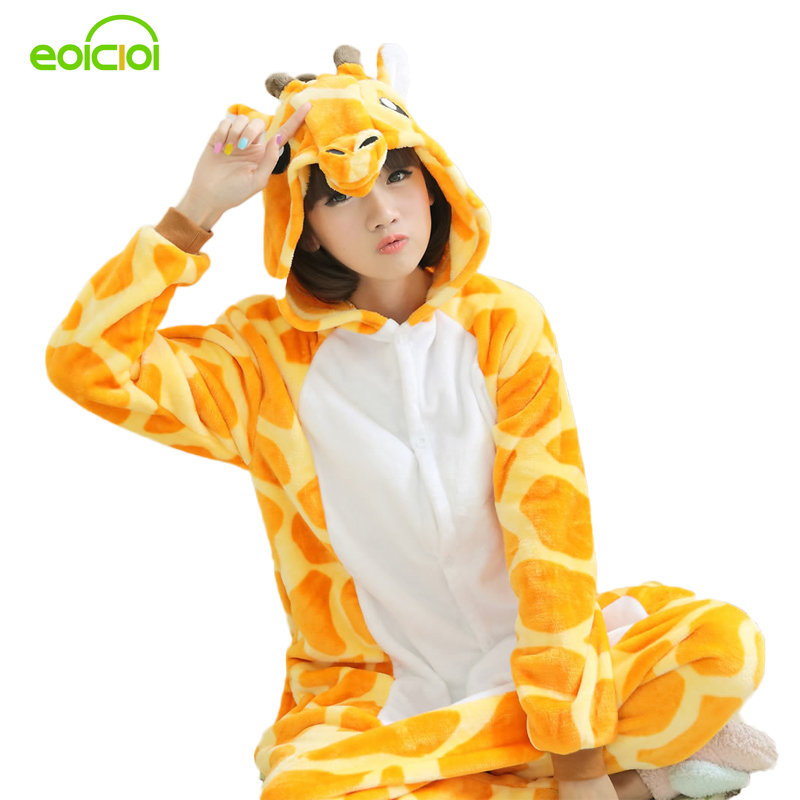 Flannel Animal giraffe onesie pajamas women`s warm pajamas family matching outfits family matching mother daughter pajamas