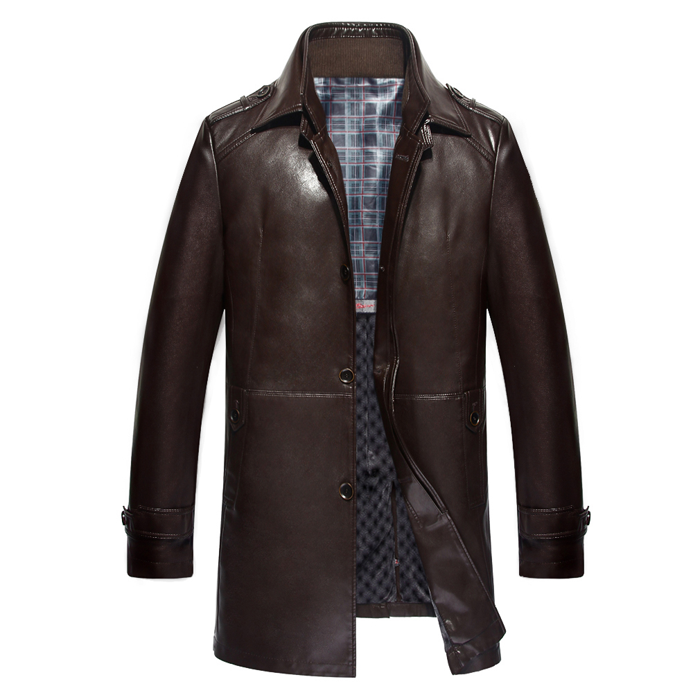 Leather Jacket Men Long Trench Coats Double Stand Collar
