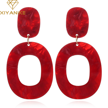 XIYANIKE New Fashion Big Vintage Colorful Oval Geometry Acrylic Statement Drop Earrings for Women Jewelry Gift Accessories E1478