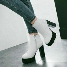 Ladies Thick High Heel Comfort Platform Ankle Boots Fashion Zipper Boots Women Round Toe Fall Winter Shoes Black White Red цена в Москве и Питере
